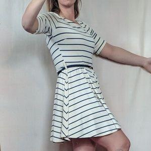 Cream & blue striped babydoll dress